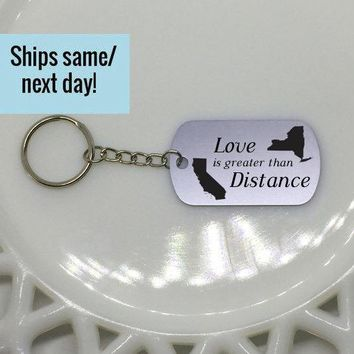 Long Distance Friendship, Love Keychain, Long Distance Relationship, State or Country, Custom Engraved Keychain, Deployment Keychain
