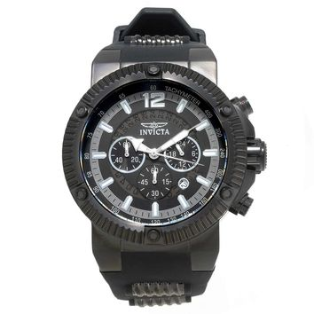 Invicta 20046 Men's Speedway Black Dial Steel & Rubber Strap Chronograph Watch