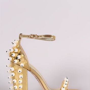 Metallic Patent Pearl Embellished Open Toe Ankle Strap Chunky Heel