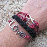 USA Seller- Maroon and Black Love Anchor and Infinity  Friendship Charm Bracelet