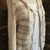 Free People Natural Boho Crochet Knit Zip Front Sweater Sz S M
