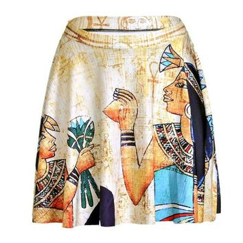 Family Friends party Board game Egypt Pharaoh Women Sexy Pleated Skirts Tennis Bowling Bust Shorts Skirts Vintage Digital Print Fitness Sport Apparel A Style AT_41_3