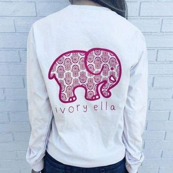 5e03b9c7f Women Fashion Loose Long Sleeve Cute Elephant Pattern Casual Swe
