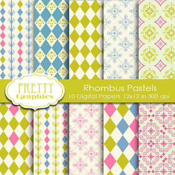 DIGITAL PAPERS - Rhombus Pastels - Commercial Use- Instant Downloads - 12x12 JPG Files - Scrapbook Papers - High Quality 300 dpi