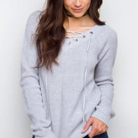 Charley Lace Up Sweater - Light Gray