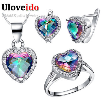 Colorful Crystal 925 Sterling Silver Wedding Bridal Jewelry Sets Earrings Ring Necklace Set Costume Jewelry Bijoux Uloveido T481