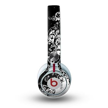 The Abstract Black & White Swirls Skin for the Beats by Dre Mixr Headphones