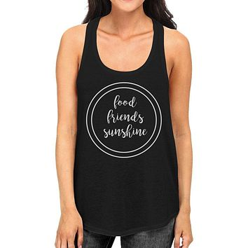 Food Friends Sunshine Womens Black Graphic Tanks Letter Printed Top