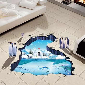 Penguins 3D Wall Papers Vinyl Material Removable Glacial Trail Wall Floor Stickers for Kids Room Washroom Decoration Wallpapers