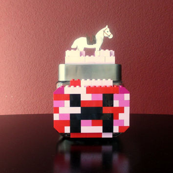 Lego Minecraft Birthday Party Decoration Gift Centerpiece.Minecraft Pink Creeper Lego Jar.Minecraft Themed Birthday.Gamer Gift.Home Décor