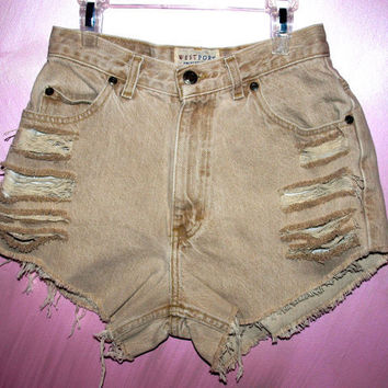 High Waisted Tan Vintage Westport Destroyed Denim by Azita001