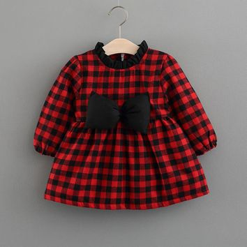 Toddler infant Baby Girls Plaid Bowknot Long Sleeve O-Neck Princess Dress winter Plus cashmere Warm Clothes costume outfit wear