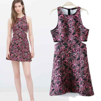 Women's Fashion Print Split Sleeveless One Piece Dress [5013220100]