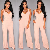 V-Neck Sleeveless Pocket Jumpsuit