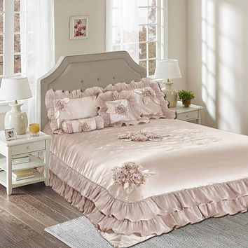 Tache 6 Piece Floral Sweet Dreams Solid Beige Comforter Set (1260)
