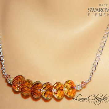 ON SALE Copper Orange Crystal Necklace, Copper Red Magma Crystal Silver Necklace, Swarovski Crystal Free US Shipping