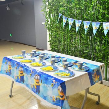 52pcs Disney Minions Party Supplies Plate/Cup/Flags/Tablecloth Patrol Birthday Party Decoration Shower Favor Party Suppliy