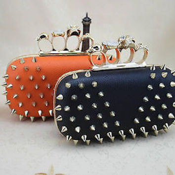 Spike Pyramid Rivet Punk Skull Knuckle RIng Box Clutches Bags Chain Purses