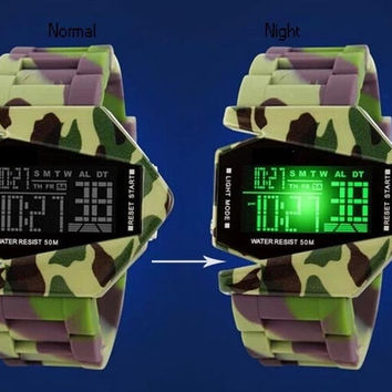Men LED Camouflage Bomber Creative Multifunction Waterproof Wrist Watch
