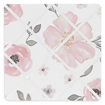 Sweet Jojo Designs Watercolor Floral Memo Board in Pink/Grey