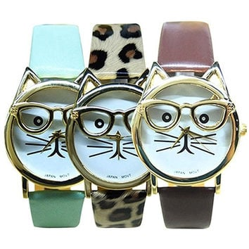 boys girls fashion Accessories Glasses Cat Dial Leather Band Wristwatch Analog Quartz Casual Cool Watches = 1956669316