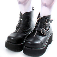 Goth Punk 3 Buckle Strap Zipper Cross Platform Hi Top Military Ankle short Boot