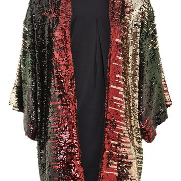 Sequin Embellished Kimono Throw - Clothing