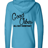 Good Vibes 1/4 Zip Hooded Pullover workout Yoga jacket