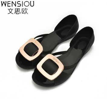 New Summer Women's Shoes Flat Sandals Jelly Shoes Fashion Woman Casual Cover Shoes Sandals Lady Sweet Party Sandalias BT581
