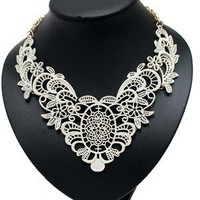 White Lace Look Metal Necklace