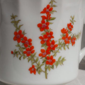 Richmond Toscany Cup Set 1980s Japan Coffee Tea Mug Fine China Collection Orange Red Flower Blossom Home Decor Housewares Serving Scalloped