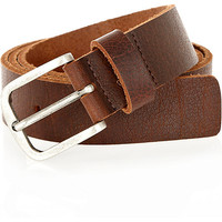 River Island MensBrown cracked slim belt