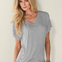 Draped V-Neck Top in Lg Heather Grey | VENUS