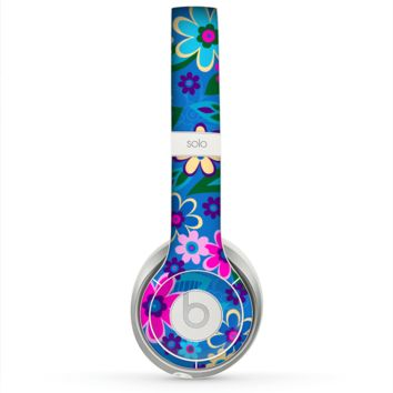 The Bright Pink & Blue Vector Floral Skin for the Beats by Dre Solo 2 Headphones