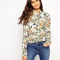 ASOS Long Sleeve Blouse in Bird Print