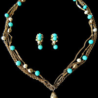 Turquoise Pearl Necklace Earrings Set Signed Kramer Multi Chain and Tassel
