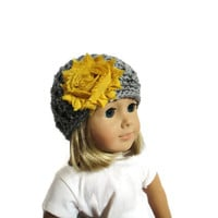 Gray Mustard Yellow 18 Inch Doll Beanie Hat Accessories