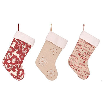 Printed Burlap Holiday Stocking with Sherpa Cuff 18-1/2-in (Retro Reindeer Toile, Snowflake, Believe)