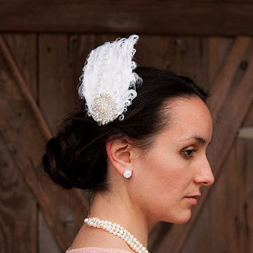 Lillian - Feather and Pearls Vintage Inspired Bridal Hair Comb, Wedding Hair Piece, Bride, 1920s, 1930s