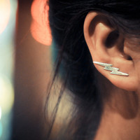 Lightning bolt sterling silver ear pins