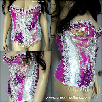 Pink Scale Corset Mermaid Bra Cosplay Dance Costume Rave Bra Rave Wear Halloween Burlesque Show Girl