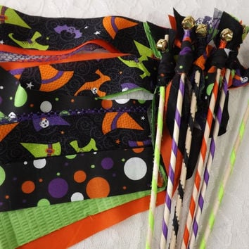 12 Funky Halloween Wands, Party Noisemaker Favors, Streamers with Bell, Trick or Treat, Spooky Party Decor