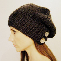 Women's slouch hat knit Charcoal unisex by KittyDune on Etsy