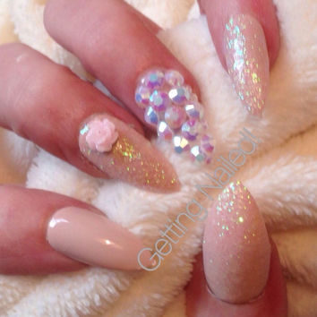 bridesmaid nails, nude nails, false nails, bridal nails, prom nails, elegant nails, classy nails, Glitter nails, stiletto nails, coffin nail