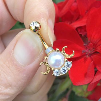Pearl Crescent Moon Gold Belly Button Ring