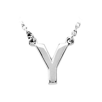 Block initial Necklace in Sterling Silver, Letter Y