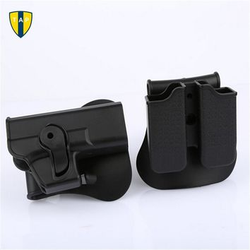 Right Hand Rotary Roto Retention Pistol Gun Holster Glock 17 Paddle & Double Magazine Pouch Ammo Tactical Case Clip For Glock 17