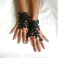 Black Wedding gloves free ship happiness rose  bridal gloves  fingerless lace  gloves Unique design french lace gloves free ship