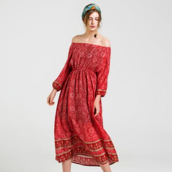 Sexy Red Silk Off Shoulder Long Sleeves Midi Dress