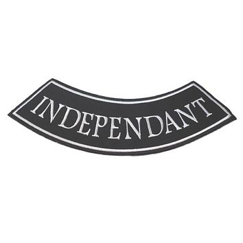 motorcycle patch  indepedant white and black spelling wrong